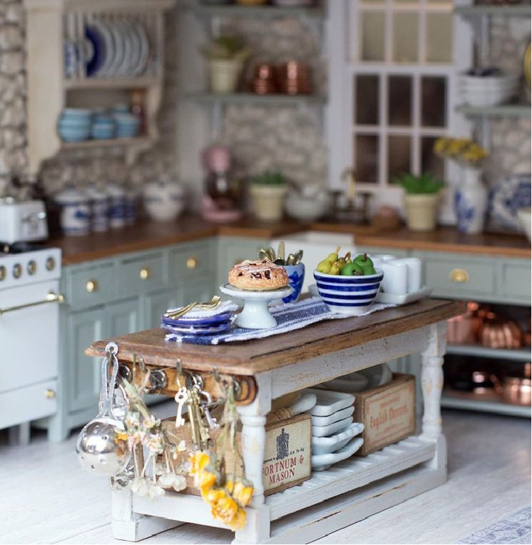 Farrow & Ball Blue Gray on kitchen cabinets of this charming kitchen in a dollhouse by Wildwood Miniatures! #farrowandballbluegray #paintcolors #graypaintcolors
