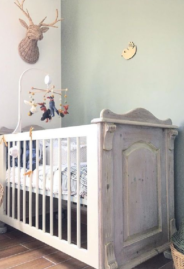 Farrow & Ball Blue Gray paint color in a nursery. #farrowandballbluegray #paintcolors #greypaint #nursery