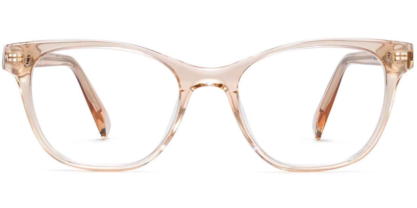 Warby Parker's gorgeous and hip eyeglasses in style Amelia in Elderflower Crystal.