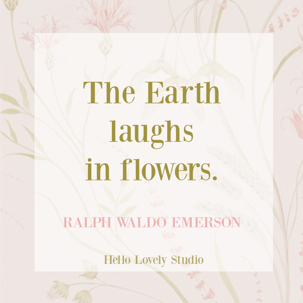 Emerson quote about flowers and spring on Hello Lovely Studio. #springquotes #flowerquotes #ralphwaldoemerson