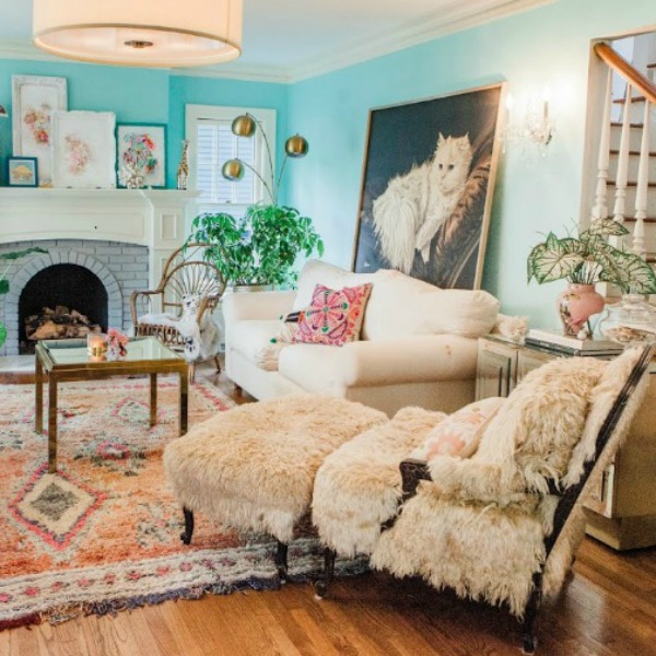 Living room. Be inspired by this photo gallery of vibrant colorful beachy boho interior design from artist Jenny Sweeney's Chicagoland home. Her art has been lifting spirits and opening hearts to wonder - see how it lives large in a charming suburban Tudor!