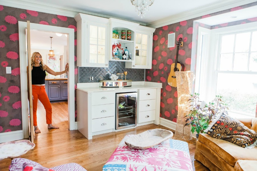 Music room! Be inspired by this photo gallery of vibrant colorful beachy boho interior design from artist Jenny Sweeney's Chicagoland home. Her art has been lifting spirits and opening hearts to wonder - see how it lives large in a charming suburban Tudor!