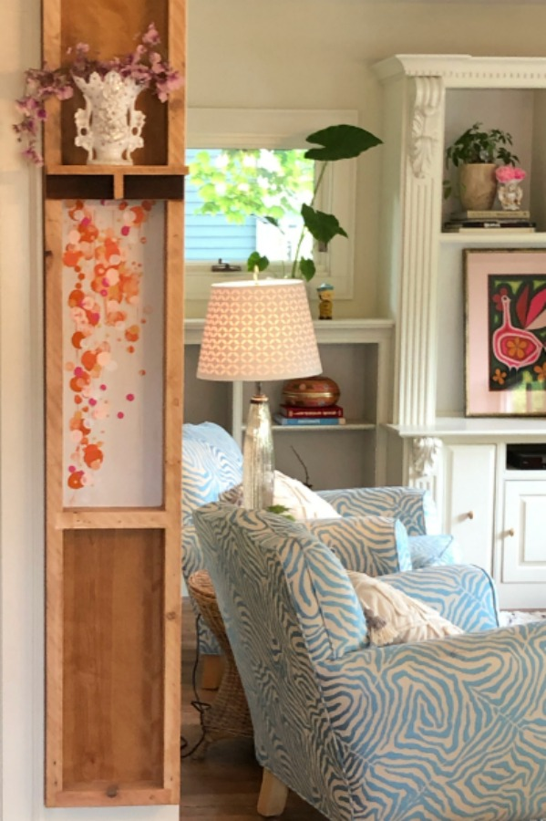 Family room - Be inspired by this photo gallery of vibrant colorful beachy boho interior design from artist Jenny Sweeney's Chicagoland home. Her art has been lifting spirits and opening hearts to wonder - see how it lives large in a charming suburban Tudor!