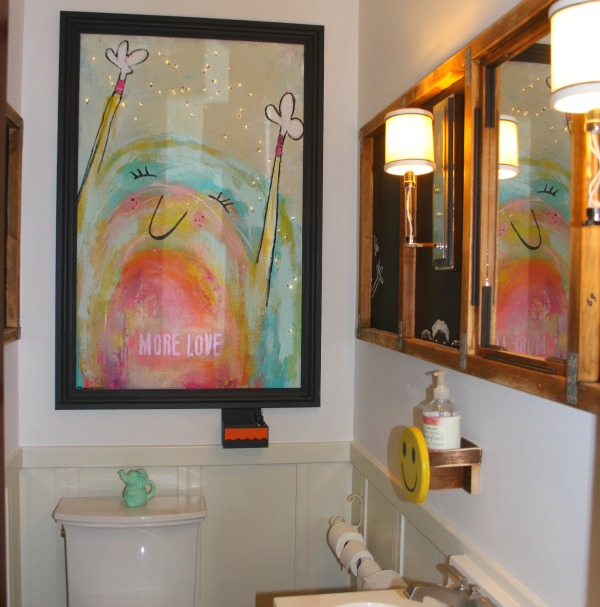 Vibrant and playful art by Jenny Sweeney in a custom powder room design by Jenny Sweeney.