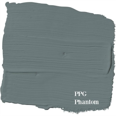PPG Phantom paint color is a perfect blue grey paint to use for your walls and a favorite of Leanne Ford of HGTV's Restored by the Fords. #phantom #charcoal #graypaint #perfectgray #paintcolor #leanneford #ppg #interiordesign