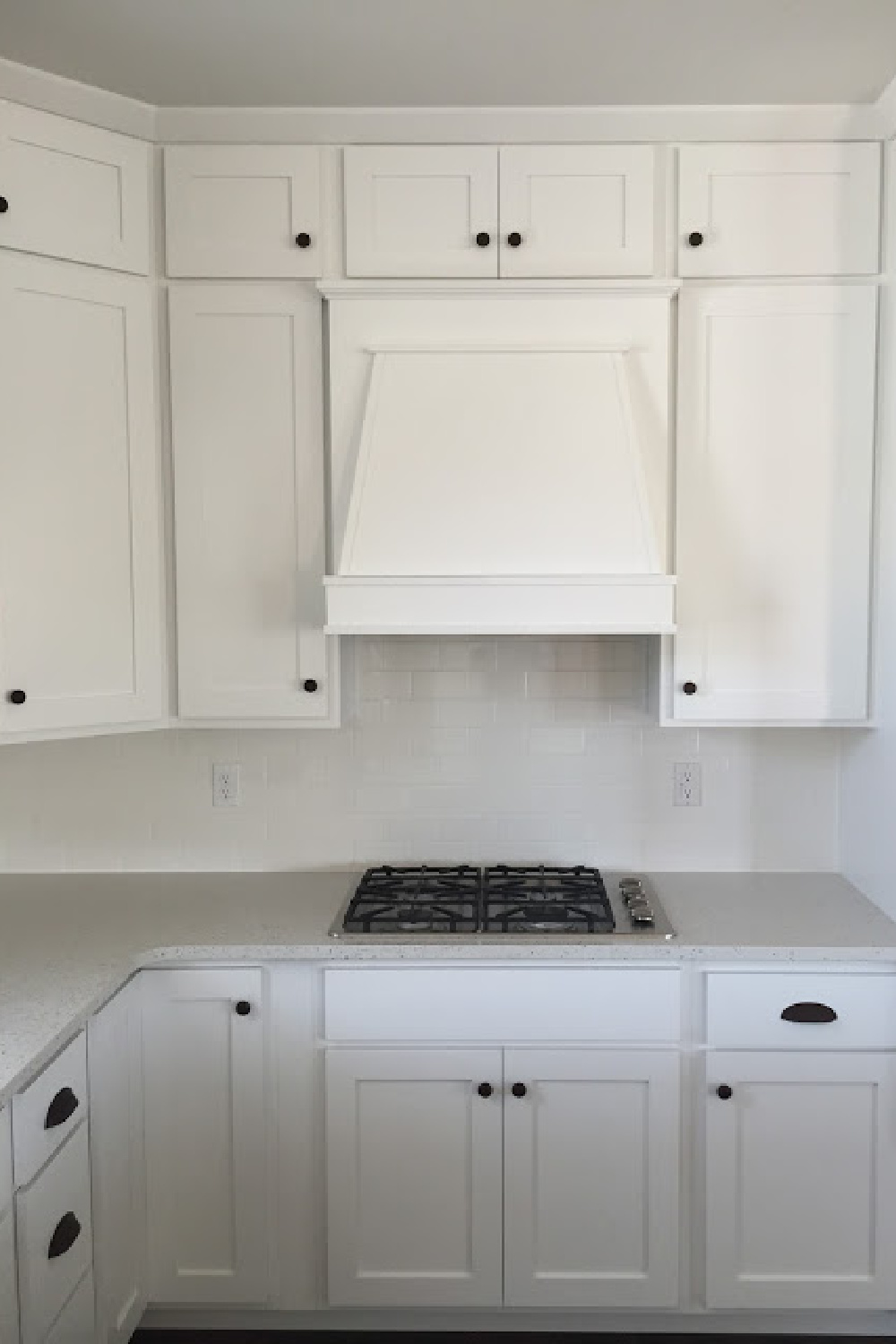 PPG Delicate White paint color on kitchen cabinets in a space with design by Andrea West. #paintcolors #ppgdelicatewhite #kitchencabinets
