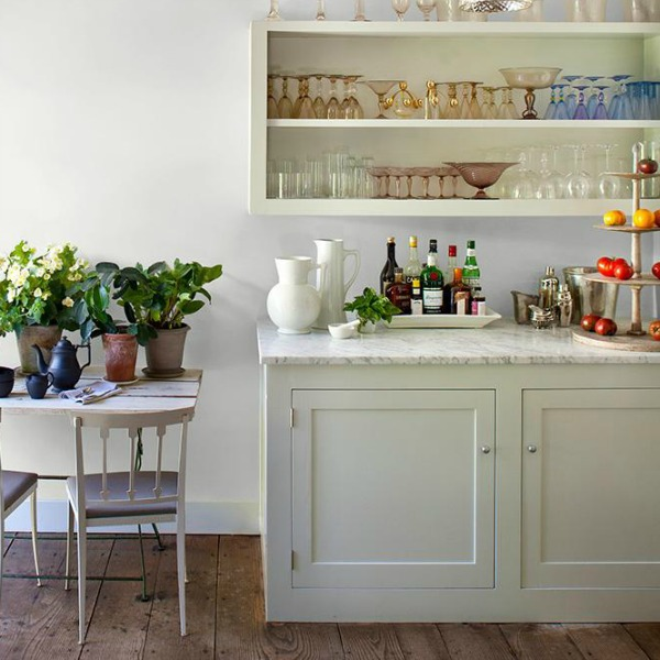Delicate White PPG paint color on walls of a chic kitchen.