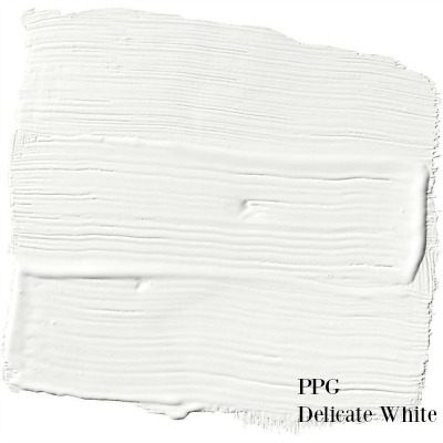 PPG Delicate White paint color is a perfect white paint to use for your walls and a favorite of Leanne Ford of HGTV's Restored by the Fords. #delicatewhite #perfectwhite #paintcolor #leanneford #ppg