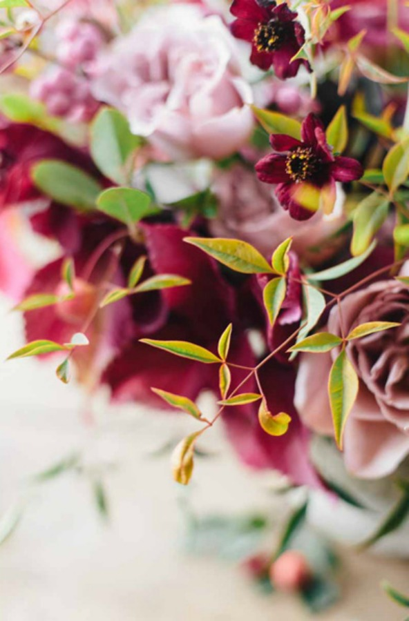 Gorgeous fall wedding floral arrangement by Sarah Winward - photo by Kate Osborne.