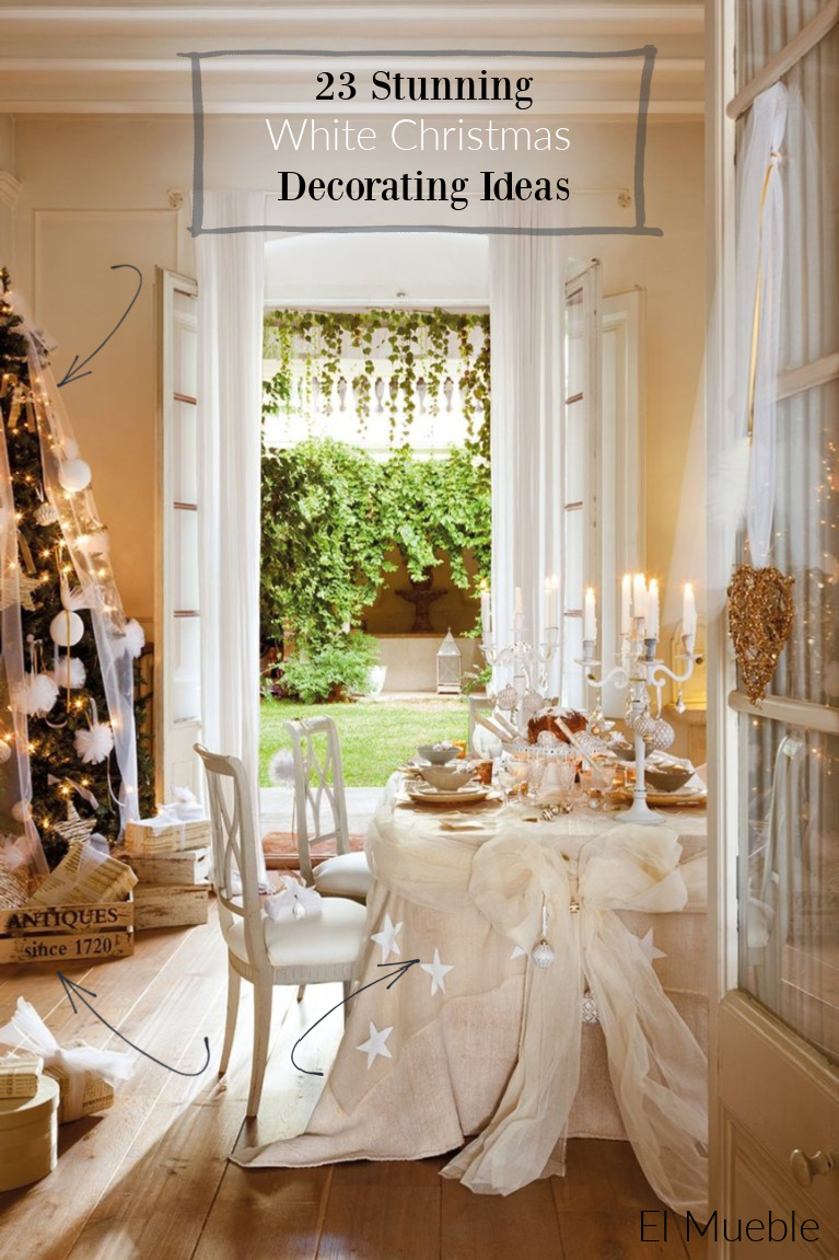 23 Stunning White Christmas Decorating Ideas from a French Nordic style home (photo: El Mueble). #frenchchristmas #whitechristmas #christmasdecor #frenchnordic #frenchfarmhouse #holidaydecorating