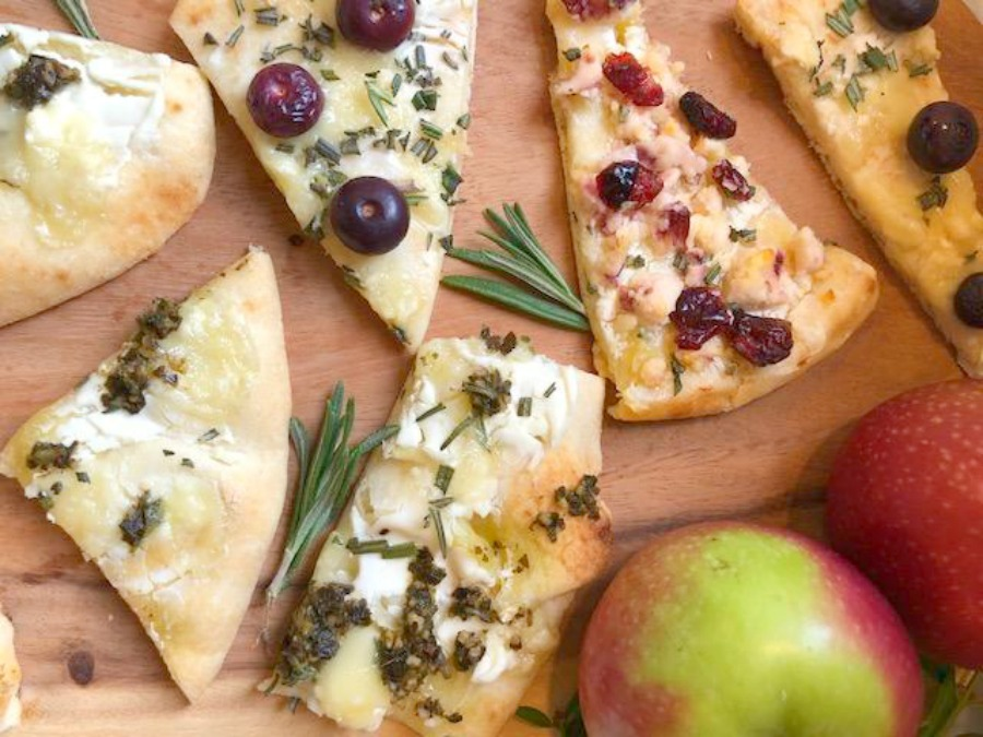 Hello Lovely's 10 minute cheesy easy appetizer comes together quickly with store-bought flatbread! Perfect for holiday entertaining and Thanksgiving. #appetizer #easyrecipes #flatbread #briecheese