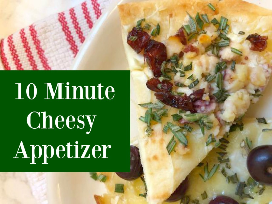 Cheesy easy festive appetizer comes together quickly with store-bought flatbread! Perfect for holiday entertaining and Thanksgiving. #appetizerrecipe #easyrecipes #flatbread #briecheese