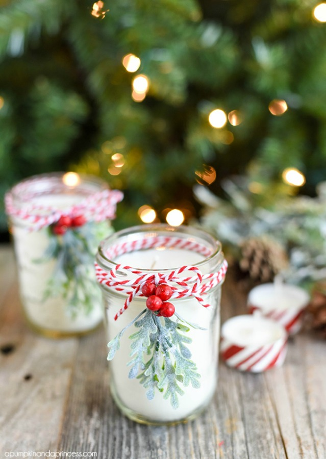 Christmas decor DIY mason jar peppermint candles from apumpkinandaprincess. #christmasdecor #diy #crafting #candles #masonjars