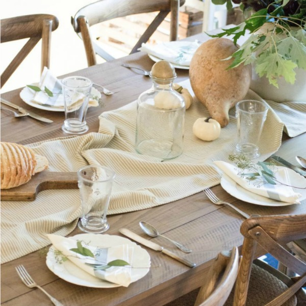 Soft autumn tablescape for fall with stripe runner, pale colors, and country simplicity - Unexpected Elegance. #falltable #tablescape #farmtable #neutrals