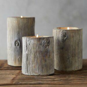 Faux Bois Candleholders