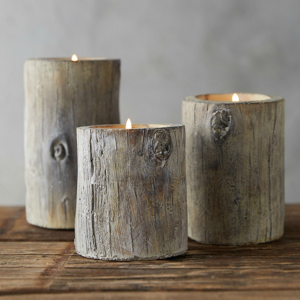 Faux bois votive holders from Terrain