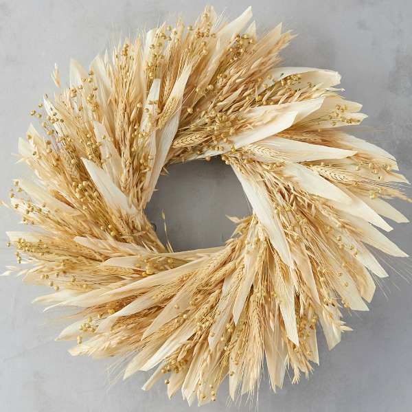 Flax wheat wreath from Terrain
