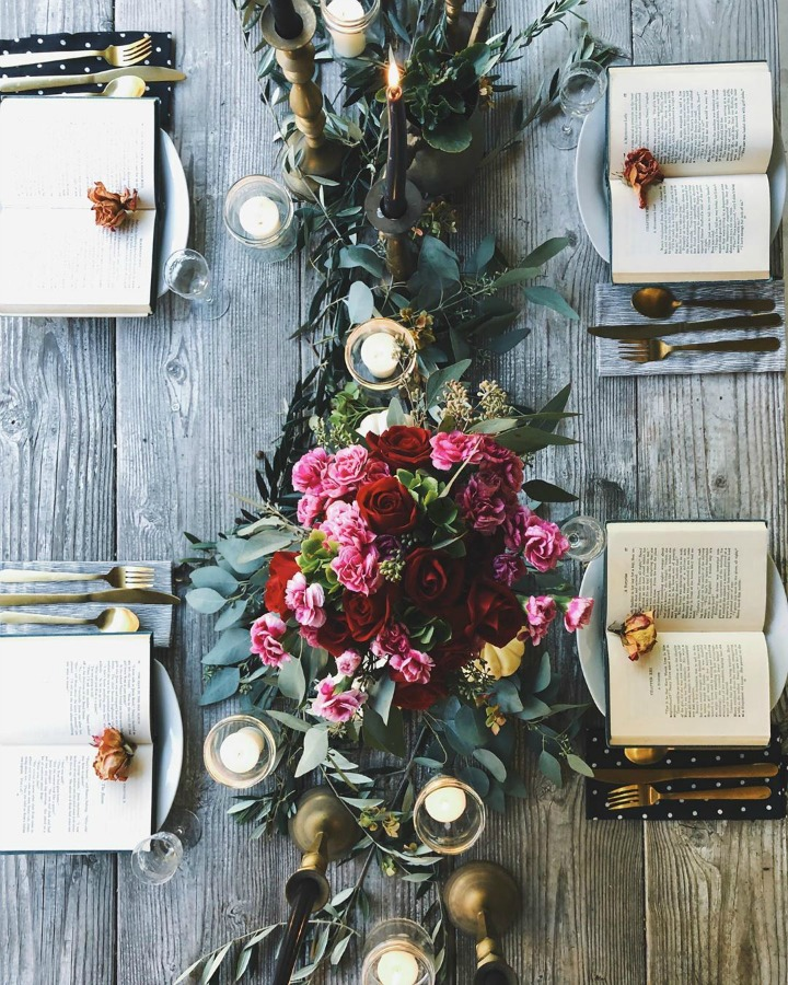 Dramatic and moody fall tablescape with a book theme - Gwen Moss Blog. #tablescape #falltable #bookparty #entertaining