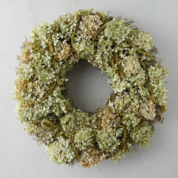 Hydrangea amaranthus wreath from Terrain