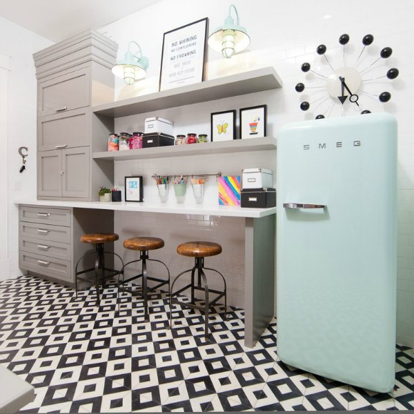 Customized and eclectic mud room with Smeg frig in a modern French home in Queen Creek, Arizona. #modernfrench #mudroom #smeg
