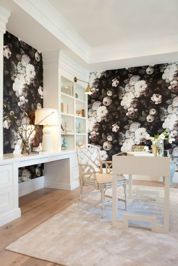 Black floral wallpaper in a modern French home office in Queen Creek, AZ. #modernfrench #interiordesign #homeoffice