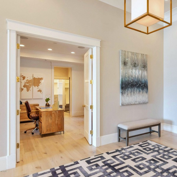Entry foyer in a modern French home in Queen Creek. #modernfrench #entry #interiordesign