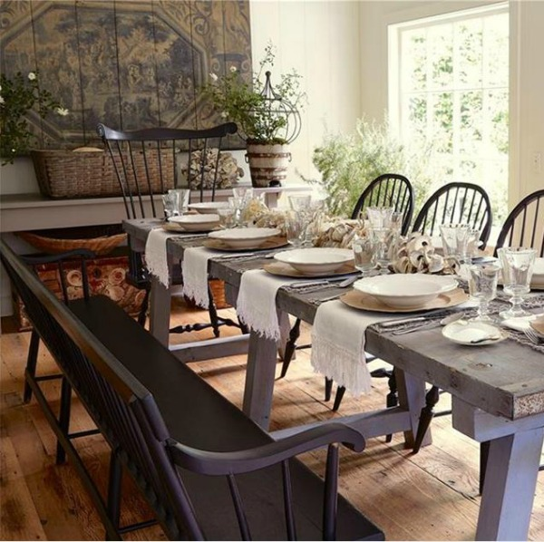 Nora Murphy's 1767 Connecticut farmhouse with beautifully designed relaxed and classic interior design. #noramurphy #farmhousestyle #interiordesign #historicfarmhouse #diningroom