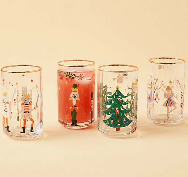 Nutcracker juice glasses will bring smiles to your holiday kitchen! #juiceglass #holidaydecor #nutcracker