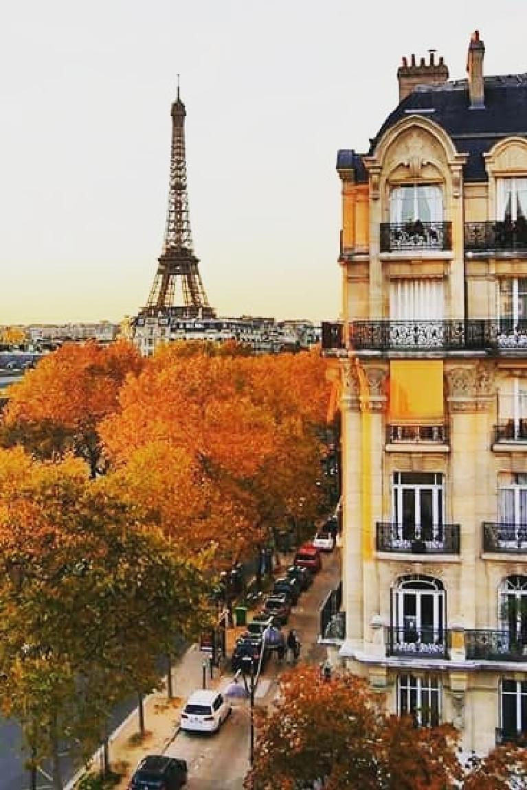 Paris in fall with Eiffel Tower and autumn trees - Mia Iasmina. #frenchfall #parisfall #autumninparis #parisinfall