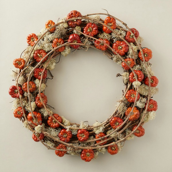 Pumpino and moss wreath for fall from Terrain