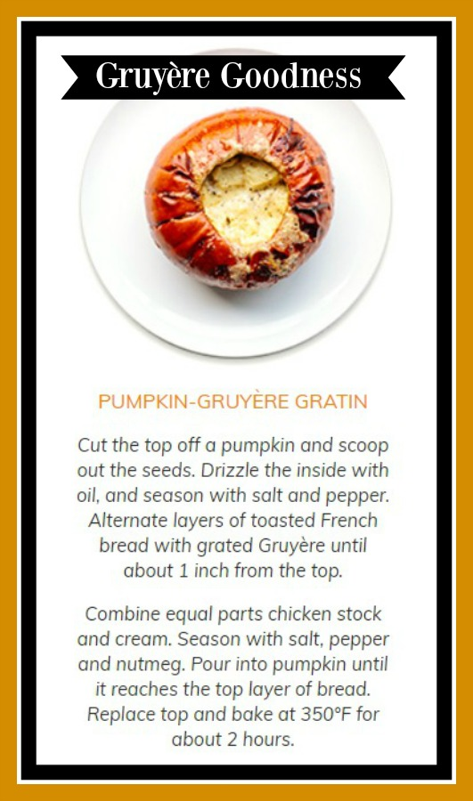 Pumpkin Gruyere Gratin recipe from Williams Sonoma. #pumpkinrecipe #recipes #soup #fallrecipe