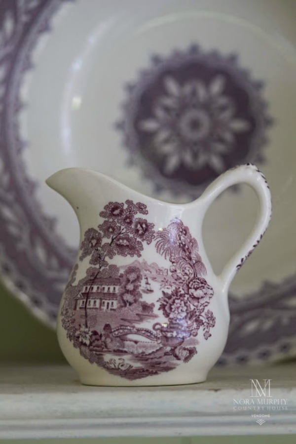 Purple transferware pitcher and china in French country home of Amy Chalmers of Maison Decor. #purple #transferware #china #antiques