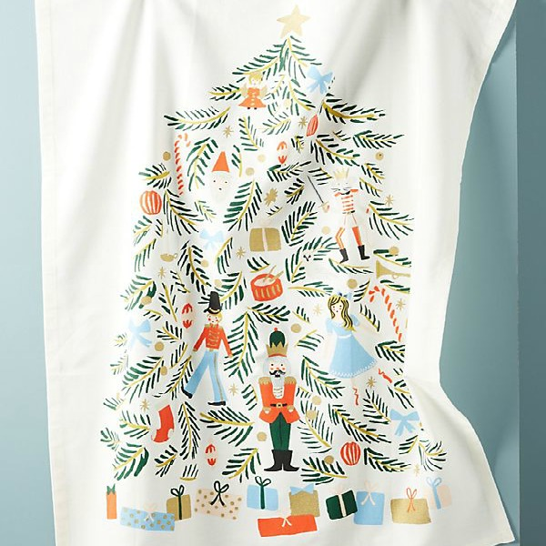 Nutcracker dishtowel is a colorful whimsical holiday decor detail for your Christmas kitchen. #christmasdecor #nutcracker #dishtowel