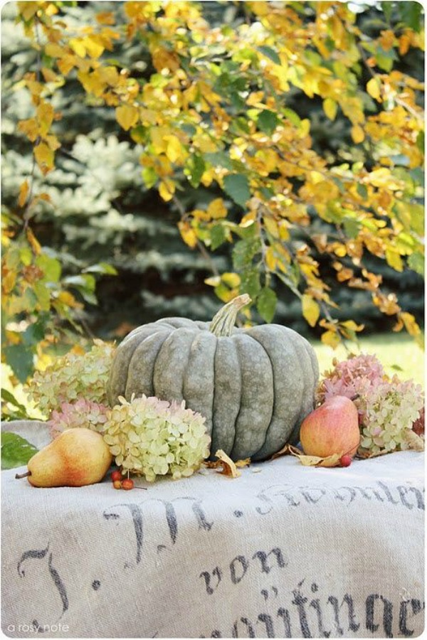 Fall pumpkins in pastel shades with hydrangea on a grainsack never looked so good! A Rosy Note. Serene French Farmhouse Fall Decor Photos ahead! #fall #autumn #farmhousedecor #pumpkins #grainsack #frenchcountry
