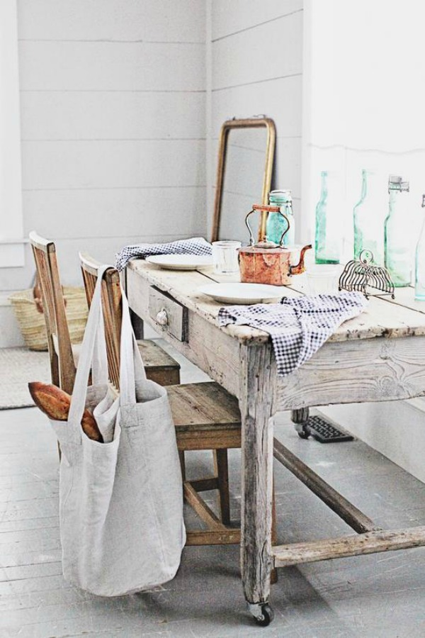 White French farmhouse style interior by Dreamy Whites.