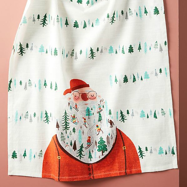 Santa dishtowel is an adorable holiday kitchen must have! #anthropologie #dishtowel #santa #christmasdecor