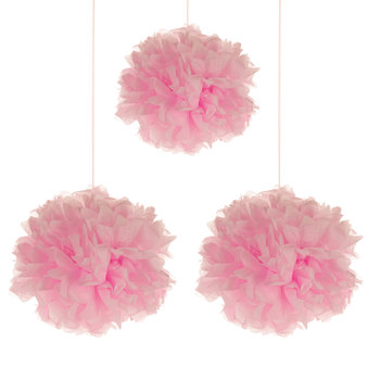 Soft pink tissue pom poms from Hobby Lobby.