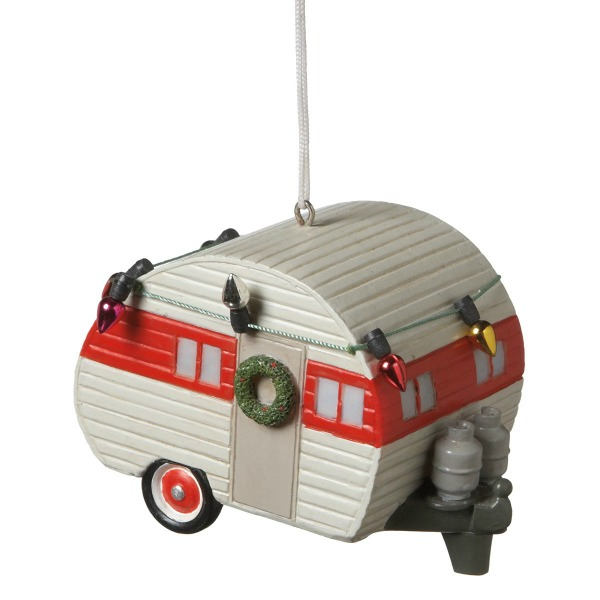 Vintage camper ornament with red and white. #christmastree #ornament #vintagecamper