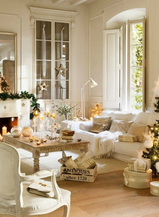 White Christmas decorating ideas! A beautifully restored 1864 home on the Maresme Coast of Spain is decorated in whites for Christmas. #christmasdecor #whitechristmas #frenchcountry #frenchchristmas