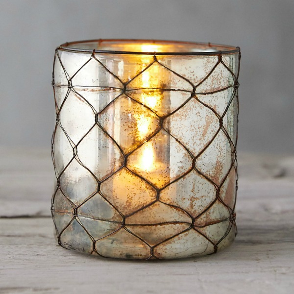 Wire wrapped Copper Votive Holder from Terrain