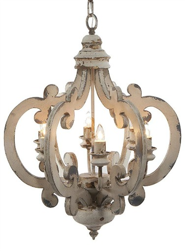 Wood and metal French country chandelier for a romantic look in a dining room, bedroom, or entry. #chandelier #frenchcountry #rustic #frenchfarmhouse