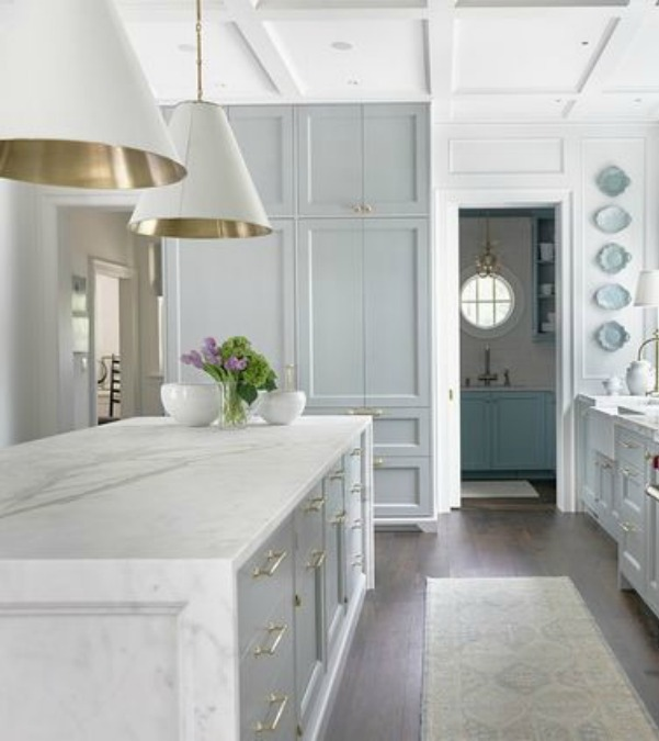 Farrow & Ball Light Blue painted cabinetry in a stunning traditional kitchen in the Southeastern Farrow & Ball Light Blue paint color on cabinets in kitchen. Southeastern Designer Showhouse 2017 - Atlanta Homes & Lifestyles. #farrowandballlightblue #lightbluepaint