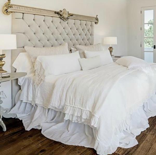 Gorgeous modern European country bedroom design style in this Houston home by Southampton. #europeancountry #interiordesign #whitedecor #modernfrench