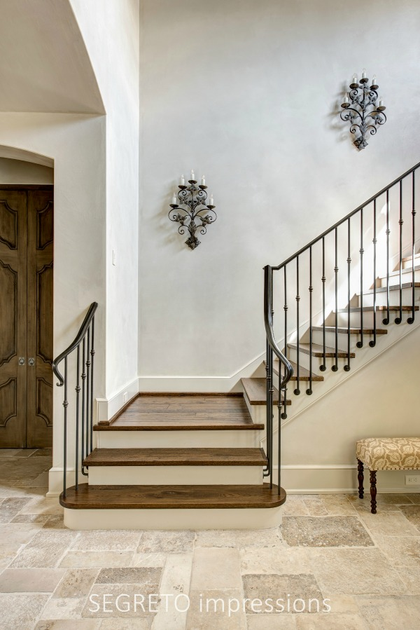 From SEGRETO impressions (2019) by Leslie Sinclair. Magnificent plaster walls and ceilings in the entry of a charming newly constructed Country French home. #staircase oldworld #frenchcountry #plasterwalls #interiordesign