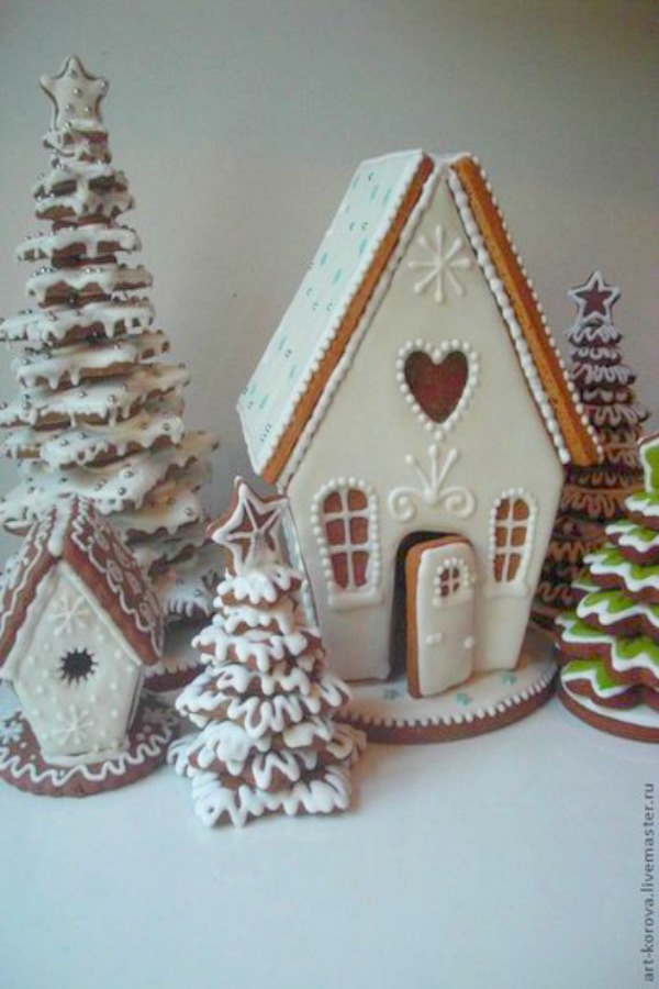 Magnificent white gingerbread house cottage with trees and snow - Art-korova. Heartful Messages, Inspiring Peace Quotes & Christmas Glimpses. #gingerbreadhouse #whitechristmas #diy #baking