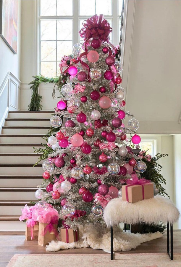 Atlanta Home for the Holidays Showhouse Christmas tree decorated in pinks! #christmastree #pinkchristmas #holidays
