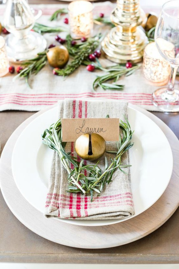 Gorgeous holiday place setting with country French farmhouse charm - Blesserhouse. #holidaydecor #tablescapes #placesetting #holidaytable