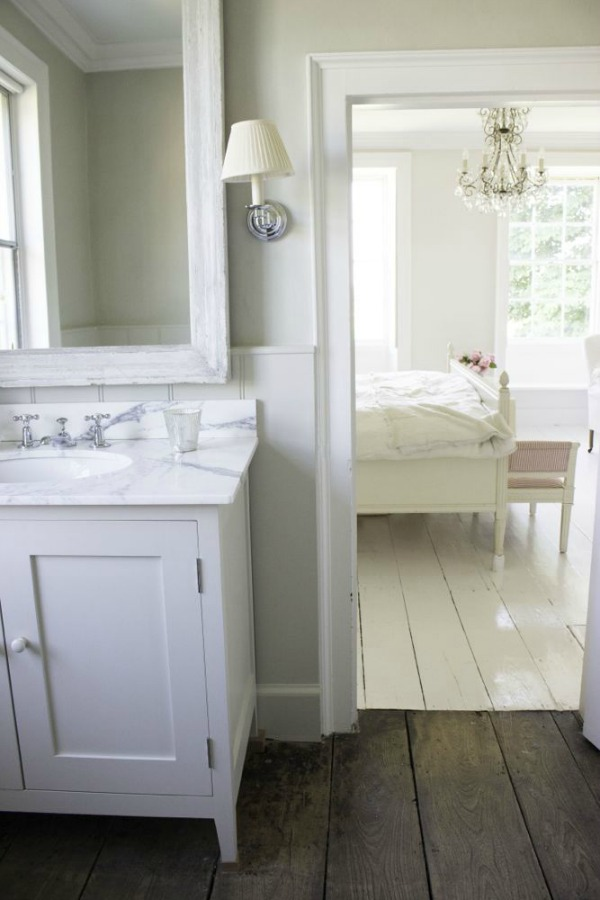 Bathroom - Charming white Scandinavian style cottage interiors in a property called the Hatch (Beach Studios) near London. #scandinavianstyle #cottage #interiordesign #whitedecor