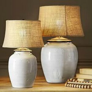 Courtney lamp has a rustic warm white earthenware urn base. #frenchcountry #homedecor #lighting #europeancountry #rusticlamp #tablelamps