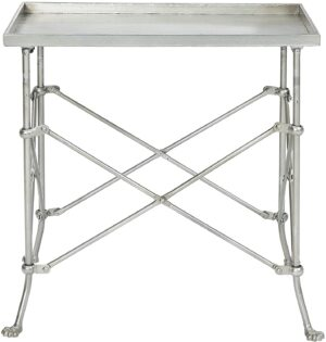 Cirebon Silver Accent Table with rectangular top.  Let's chat about how to decorate chic yet cheap!